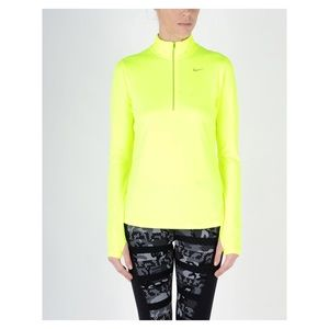 NIKE Neon Yellow Half Zip - Pullover Top {Dri-Fit}